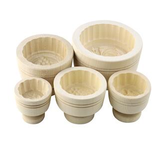 5er Butteformen Set rund aus Ahornholz